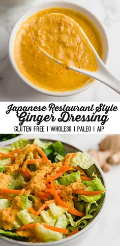 Ginger salad dressing in Japanese restaurant style (gluten-free, paleo, AIP) - Unbound Wo . - Ginger salad dressing in Japanese restaurant style (gluten-free, paleo, AIP) – unbound well-being - # Ginger Salad Dressings, Salad Dressing Recipes, Salad Dressing Healthy, Healthy Salad Dressings, Gluten Free Salad Dressing, Paleo Dressing, Food Salad, Vegetarian Recipes, Cooking Recipes