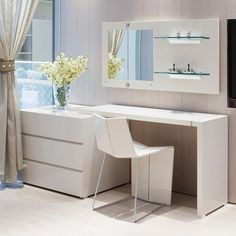 This dresser and desk combo features strong lines, and a simple, modern design. It contains 3 deep drawers for storage and adjustable desk top with in either black or white for an extra sleek look. Bedroom Desk, Bedroom Dressers, Bedroom Furniture, Queen Bedroom, Desk Dresser Combo, Computer Armoire, Office Furniture Stores, Trendy Bedroom, Bedroom Modern