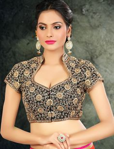 Shop Ready made raw silk black saree blouse online from India. Saree Jacket Designs, Saree Blouse Neck Designs, Stylish Blouse Design, Fancy Blouse Designs, Bridal Blouse Designs, Collar Designs, Designer Blouse Patterns, Beautiful Blouses, Indiana