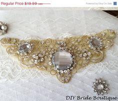 40% OFF Rhinestone applique, gold crystal applique, wedding applique, beaded patch for DIY wedding sash, bridal accessories