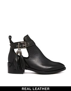 KG by Kurt Geiger Steep Black Cut Out Ankle Boots