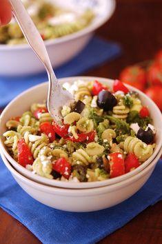 Kale Pasta Salad with kale dressing