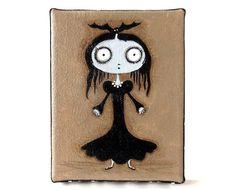 Morticia Addams  original acrylic painting outsider by yoborobo