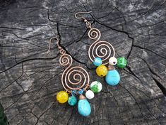 Spiral cluster copper earrings Blue dangle drop earrings