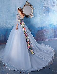 Formal Evening Dress - Light Sky Blue Ball Gown V-neck Chapel Train Satin – AUD $ 293.14