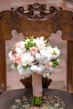 bridal bouquet with cotton
