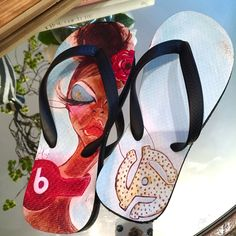 85566c5651 Art meets Fashion Flip Flops by Yvette Crocker Black Love