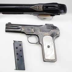Theodore Roosevelt's Fabrique Nationale Browning .32 ACP Pistol - Today's GOTD is Theodore Roosevelt's factory engraved pistol with mother-of-pearl grip panels. Family tradition holds that this semi-automatic pistol was one that Roosevelt used as a nightstand gun during his years in the White House.