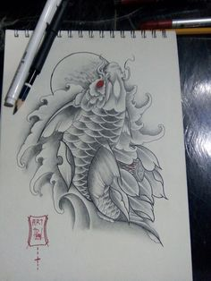 Koi Dragon Tattoo, Carp Tattoo, Koi Fish Tattoo, Tattoo Drawings, Body Art Tattoos, New Tattoos, Koi Tattoo Design, Mantra Tattoo, Koi Art