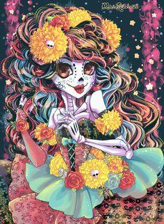 DIA DE LOS MUERTOS/DAY OF THE DEAD~SUGAR SKULL GIRL ART