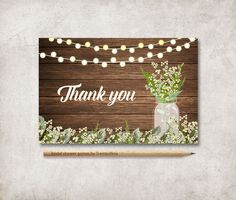 Rustic Thank You Card Printable, Digital file, Instant Download - Mason Jar Baby's Breath Thank You Card - pinned by pin4etsy.com