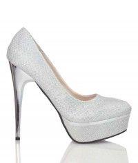 Shoes www.shoeenvy.com.au Foxy Silver - Womens silver glitter platform high heels $169
