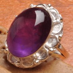 G129: NATURAL AMETHYST RING, 925 SILVER PLATED OVER SOLID COPPER, Size 7