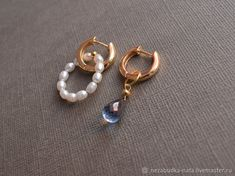 Materials: 925 Sterling Silver, Silver Accessories, Pearls, River Pearls, Topaz Size: Stone Topaz 7 on 5mm ##handmade Topaz Earrings, Silver Earrings, Pearl Earrings, Silver Accessories, Close Up Photos, Beaded Bracelets, River, Pearls, Sterling Silver
