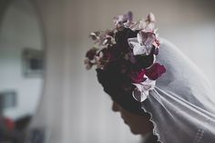 Bride wears a Floral Veil for a Charming Coastal Wedding    Photography by http://marymcquillanphotography.com/