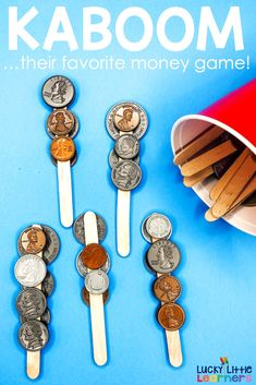Kaboom is my students' favorite way to practice adding sums of money as well as comparing money values! This video will walk you through exactly how to prepare this money game for your students! It's perfect for first grade, second grade, and maybe even Teaching Money, Student Teaching, Teaching Ideas, Math For Kids, Fun Math, Maths, Math Stations, Math Centers, Math Classroom