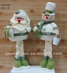 Glitter Standing Santa Snowman Christmas Decoration