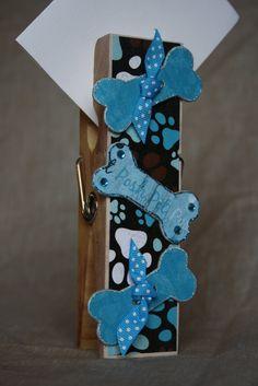 Blue Dog Bone Extra Large Clothespin Photo/Note Holder