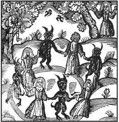 Woodcut of the dance of the Lancashire Witches