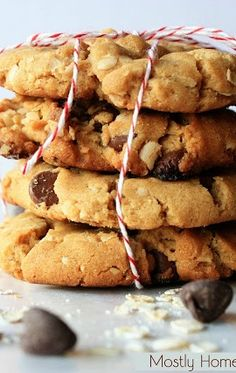 Oatmeal Peanut Butter Chocolate Chip Cookies - BEST cookies EVER!