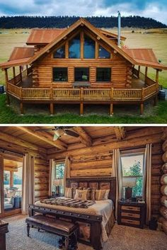 Rustic home has that cozy and relaxing feeling. Having such home next to the forest or lake it's a must, but rustic home become more and more popular option for daily living too! cabin home, 15 Best Rustic Home Ideas Log Cabin Living, Log Cabin Kits, Cabin House Plans, Log Cabin Homes, Log Cabins, Diy Log Cabin, Mountain Cabins, Log Home Interiors, Rustic Home Design