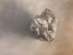 Study of Crumpled Paper, Graphite on paper by Dawna Chung