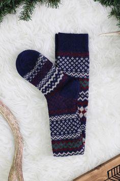 Navy Fair Isle Print Knee High Socks