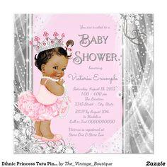 ethnic princess tutu pink gold baby shower | ethnic girl baby, Baby shower invitations