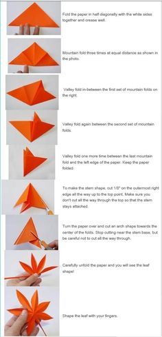 Feuille d'érable japonaise Kirigami – Origami Community : Explore the best and the most trending origami Ideas and easy origami Tutorial Origami And Kirigami, Paper Crafts Origami, Origami Easy, Diy Paper, Oragami, Paper Leaves, Paper Flowers, Origami Leaves, Origami Maple Leaf