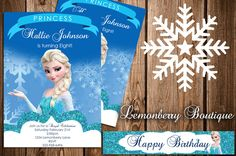 Frozen Invitation and Water Bottle Labels Package Digital Download