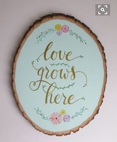 Spring-inspired wall art hand painted on wood slice. This sign can add a pop of color & happiness to any room. The wood slice measures 10 Wood Slice Crafts, Wood Crafts, Diy And Crafts, Diy Wood, Rustic Wood, Rustic Decor, Idee Diy, Wood Slices, Spring Crafts
