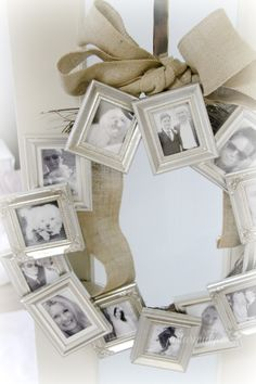 A frame wreath! Idea: put pics of loved ones you've lost in the frames. Hang on holidays and birthdays, maybe?