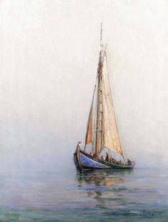 """source: o-k-e-a-n-o-s @ tumbler.  Georges Ricard-Cordingley  """"sailing boat in calm water"""" date unknown"""