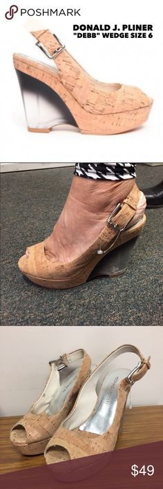 """🍾Donald J. Pliner """"Debb"""" Cork Wedge. Size 6 These fabulous platform wedges run a little small. Model in picture 2 wears a straight 6.5 and they were a little short for her. Marked a 6.5 but would fit  a 5.5 or 6 best.   Excellent condition. Worn once.  Heel is a smoky colored plastic. 4 inch heel with 1"""" platform in front. Donald J. Pliner Shoes Wedges"""