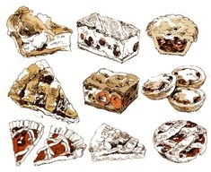 Fountain Pen Drawing, Food Illustrations, Art Inspo, Cool Art, Two By Two, Doodles, Sketches, Make It Yourself, Drawings