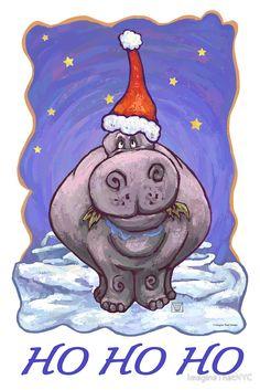 christmas hippos | Traci VanWagoner › Portfolio › Hippopotamus Christmas Card