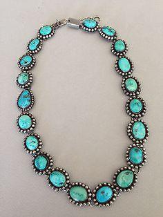 """Stunning FEDERICO JIMINEZ Vintage Turquoise Necklace - 19 1/2"""""""