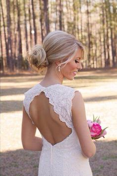 Cute bun for showing off back of dress