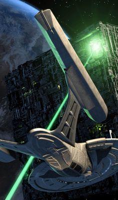 Sovereign-class starship engaging the Borg Laura Joshson Gabrile