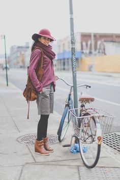 Such a cute outfit! Hat, sweater, shorts, leggings, boots