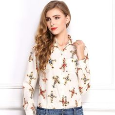 8512d864fbe Turn-down Collar Printed Cross Pattern Temperament Long Sleeved Chiffon  Blouse