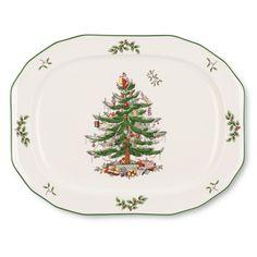 Spode 1536982 Christmas Tree Sculpted Oval Platter