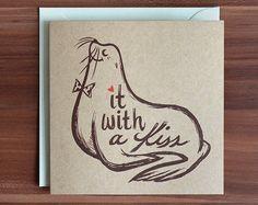 Valentine Card, Animal Pun Card, Funny Love Card, Kiss Card, Anniversary Card by MudsplashStudios on Etsy https://www.etsy.com/listing/207846955/valentine-card-animal-pun-card-funny