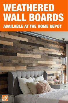 Appearance boards can add a rustic, warm vibe to your space. Easy to install and environmentally friendly, The Home Depot has everything you need to create this on- trend look. Tap to shop Weaber wall boards today. Master Bedroom, Bedroom Decor, Wood Wall In Bedroom, Creation Deco, My New Room, Home Projects, Home Remodeling, Farmhouse Decor, Diy Home Decor