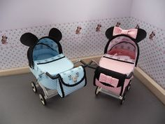 1/12th scale modern Minnie or Mickey Mouse,  pram, buggy, stroller, baby carriage hand crafted miniature