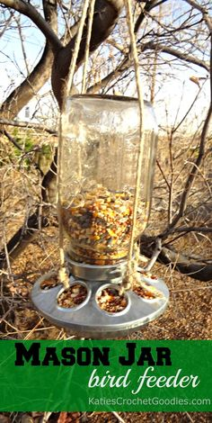 Mason Jar bird feeder #DIY This is more like mine but we used a small chain to hang it.