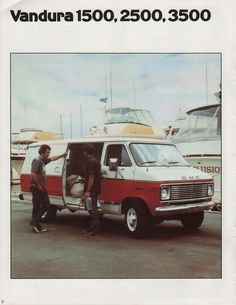 Sales brochure for the 1976 GMC Commercial Trucks printed in Canada featuring the Vandura, Magnavan, and Value Van. The Value Van has a Union City Steel body or optional Olson Aluminum Body for the Kurbmaster. Chevy Vans, Gmc Trucks, Commercial, Ads, Vehicles, Prints, Chevy Pickup Trucks, Printmaking, Vehicle
