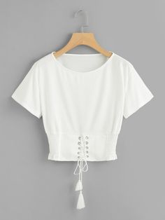 white croptop Corset Lace Up Detail T-shirt -SheIn - croptop Teen Fashion Outfits, Cute Fashion, Stylish Outfits, Girl Fashion, Cute Outfits, Cute White Shirts, Cute Crop Tops, Belly Shirts, Pretty Prom Dresses
