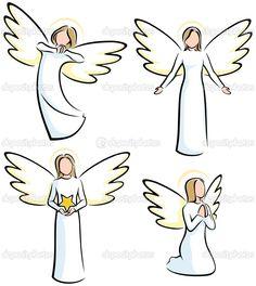 Angel Ilustrace a kresby Angel Sketch, Angel Drawing, Christmas Angels, Christmas Art, Engel Illustration, Simple Illustration, Art Rupestre, Angel Vector, Art Pierre