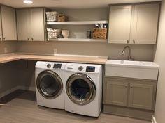 Basement laundry room. Farmhouse sink.